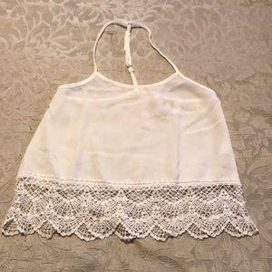 PPLA white crochet hem tank